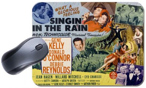 Singin In The Rain Vintage Poster Mouse Mat. Gene Kelly Singing Mouse Pad Gift